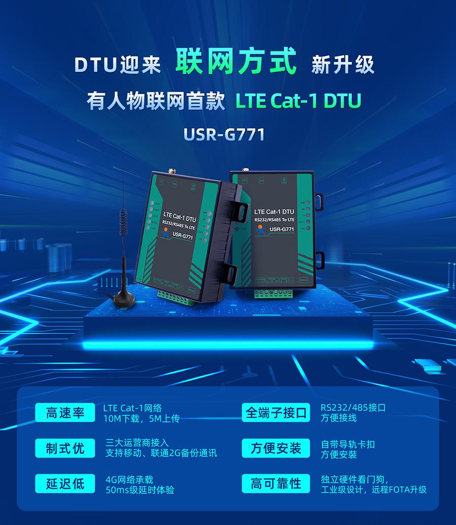 Cat-1数传终端_cat1工业DTU无线数据传输终端_替代2G