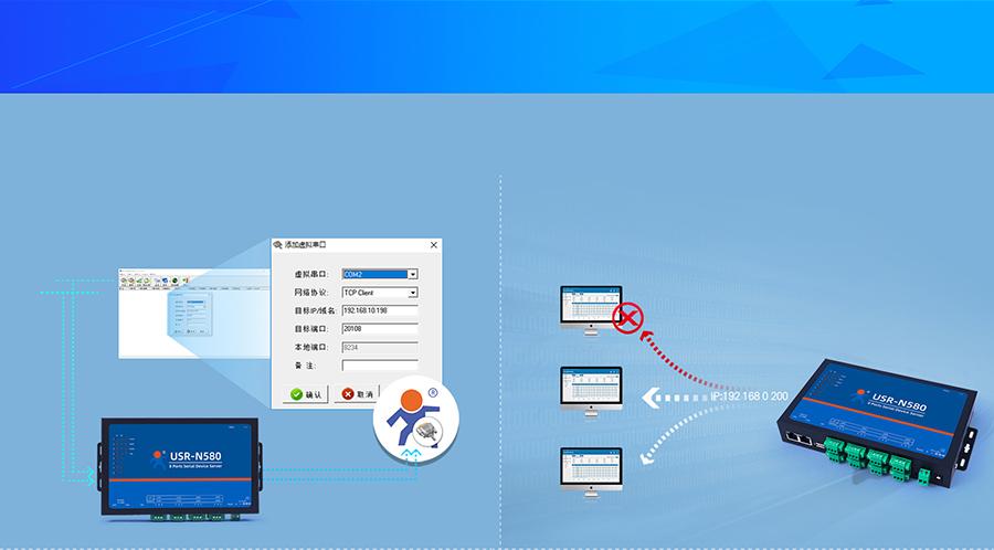 RS485八串口服务器的虚拟串口和心跳包功能