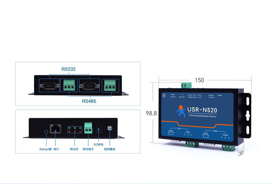 RS485双串口服务器 产品细节