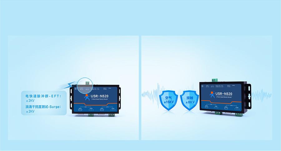 RS485双串口服务器 多重硬件防护